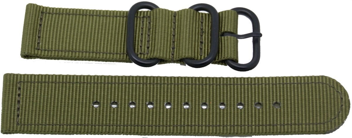 22mm 2 pc drab green military style nylon watch strap with heavy duty black pvd fittings