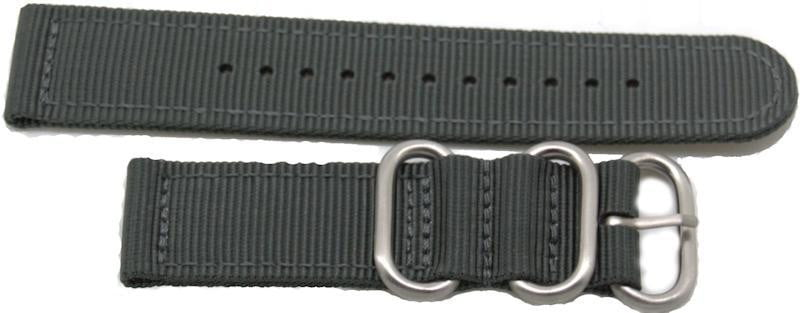 22mm 2 pc grey military style nylon watch strap with heavy duty fittings - minutemanwatches