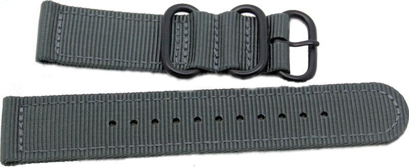 22mm 2 pc grey military style nylon watch strap with black pvd heavy duty fittings - minutemanwatches