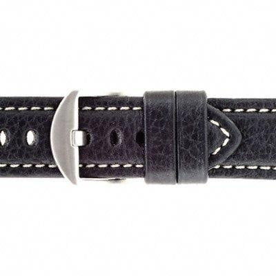 22mm American made black leather watch strap,minutemanwatches,Minuteman Watch Company,Watch Strap