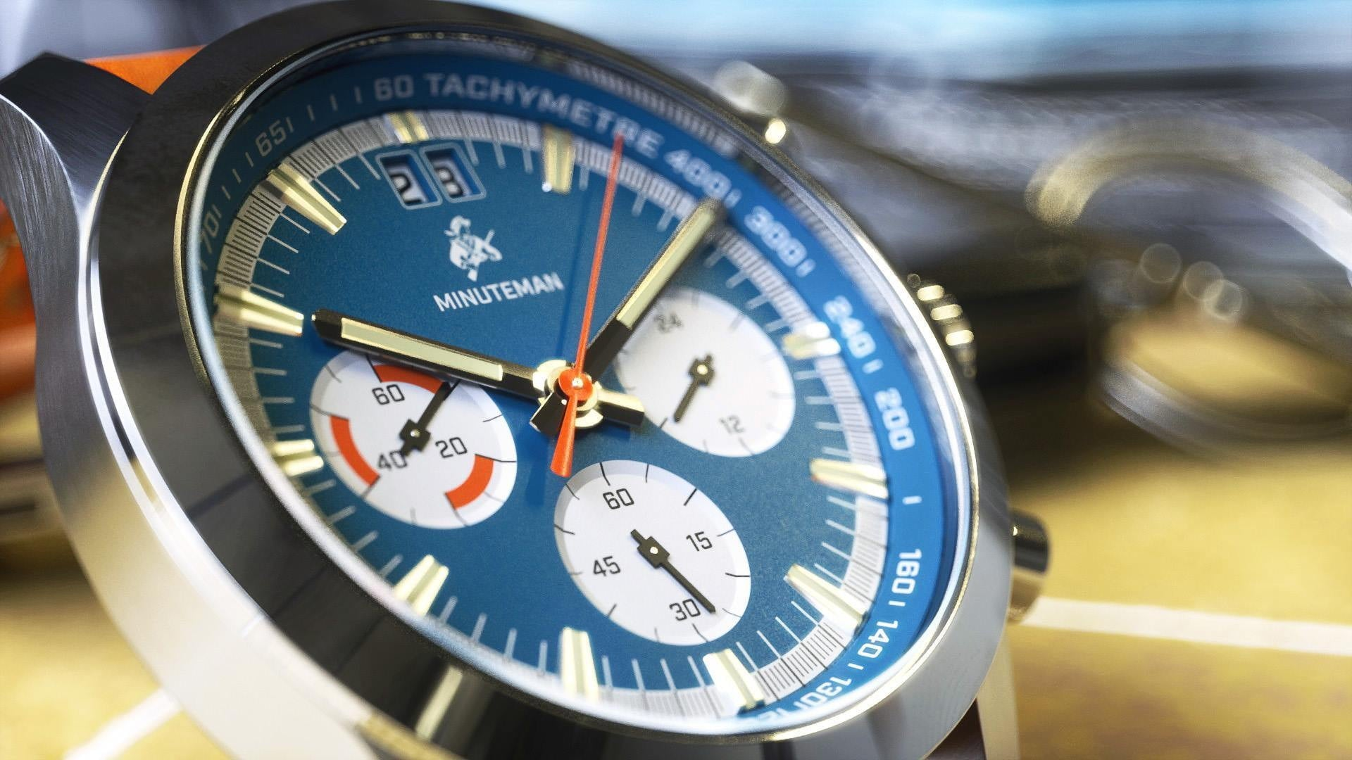 Minuteman Parker Chronograph Watch Brown Leather Strap Brushed  Blue Dial (Pre Order) - minutemanwatches