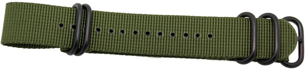 22mm 1 pc drab green military style nylon watch strap with heavy duty black pvd fittings - minutemanwatches