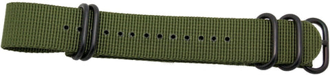 22mm 1 pc drab green military style nylon watch strap with heavy duty black pvd fittings,minutemanwatches,Minuteman Watch Company,Watch Strap