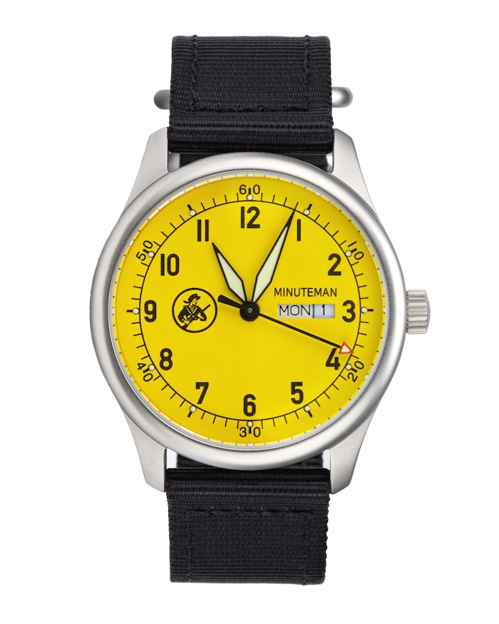 Minuteman A11 Field Watch Yellow Dial Powered by Ameriquartz,minutemanwatches,Minutemanwatches,