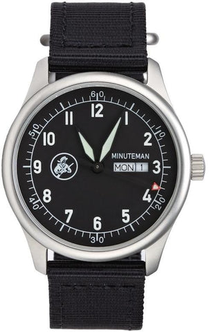 Minuteman  A11 Field Watch Powered by Ameriquartz USA Movt Black Nylon Strap Black Dial