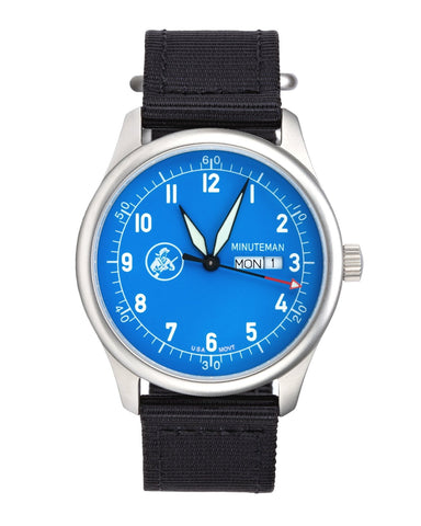 In Stock Minuteman  A11 Field Watch Powered by Ameriquartz USA Movt Black Nylon Strap Electric Blue Dial