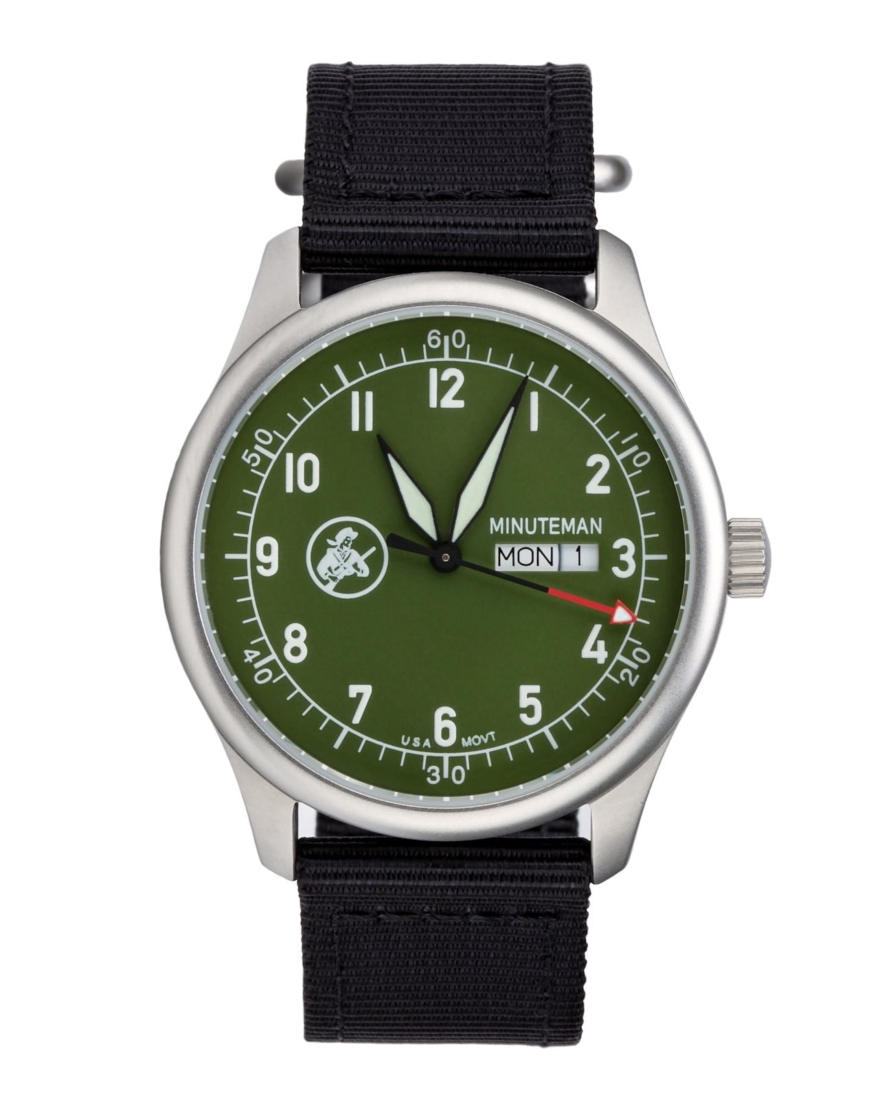 In Stock Minuteman  A11 Field Watch Powered by Ameriquartz USA Movt Black Nylon Strap OD Green Dial,minutemanwatches,Minuteman,Wrist Watch