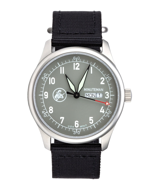 Just one left! Minuteman  A11 Field Watch Powered by Ameriquartz USA Movt Black Nylon Strap Battleship Grey Dial,minutemanwatches,Minuteman,Wrist Watch