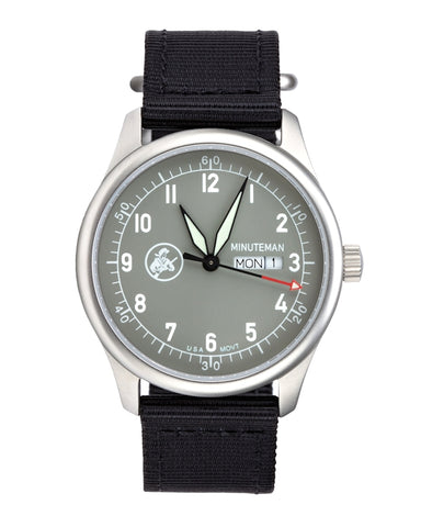 Just two left! Minuteman  A11 Field Watch Powered by Ameriquartz USA Movt Black Nylon Strap Battleship Grey Dial