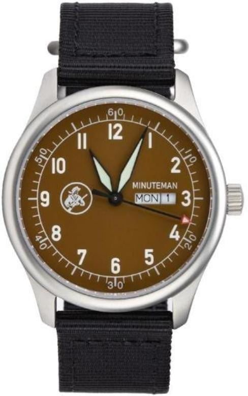Minuteman  A11 Field Watch Powered by Ameriquartz USA Movt Black Nylon Strap Mocha Dial