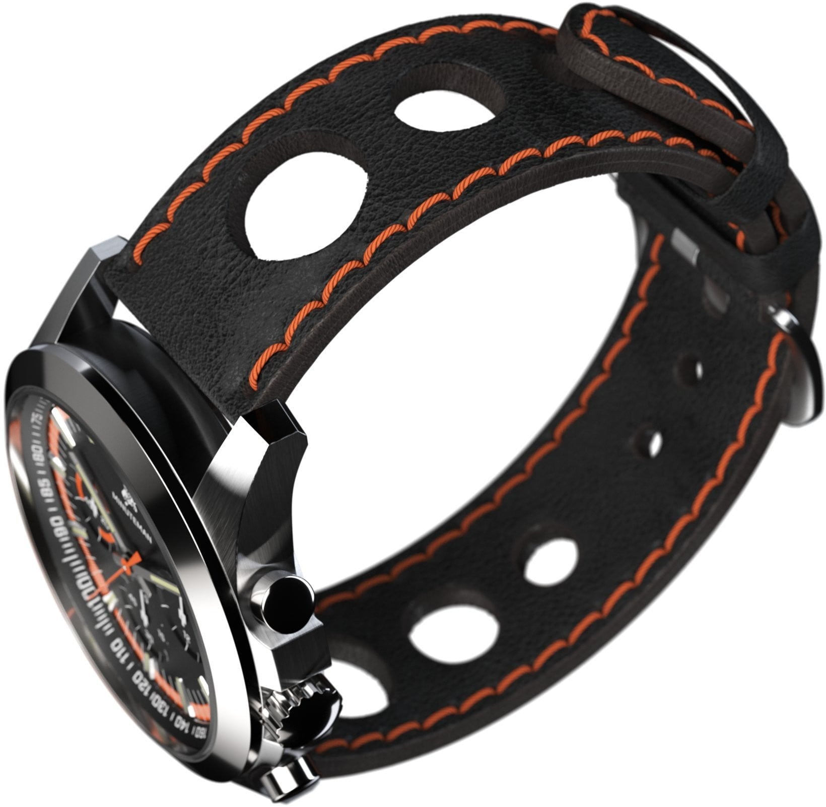 Minuteman Parker Chronograph Watch Black Leather Strap Black/Orange Dial Brushed
