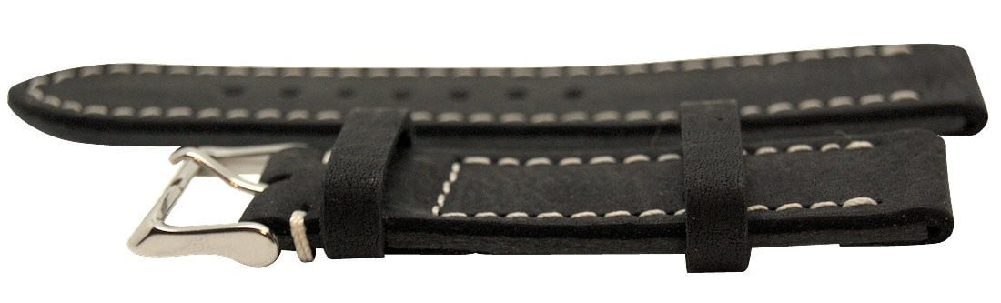 Italian Made Black 22mm Nubuck Leather Watch Strap