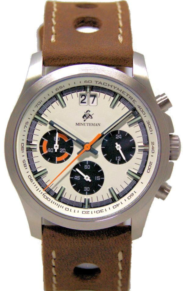 Minuteman Parker Chronograph Watch Brown Leather Strap Brushed Panda Dial