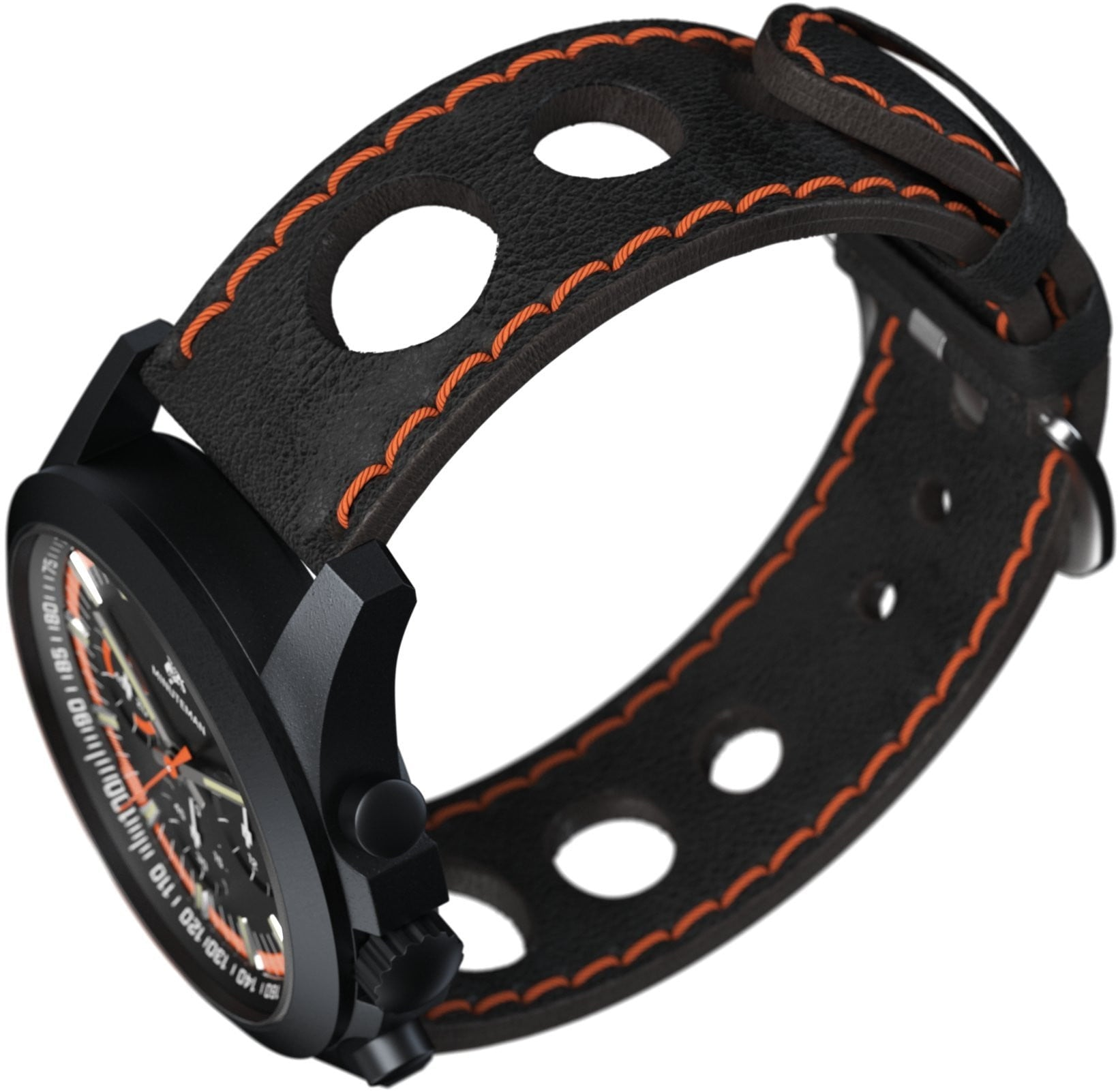 Minuteman Parker Chronograph Watch Black Leather Strap DLC  Black/Orange Dial,minutemanwatches,Minuteman,Wrist Watch