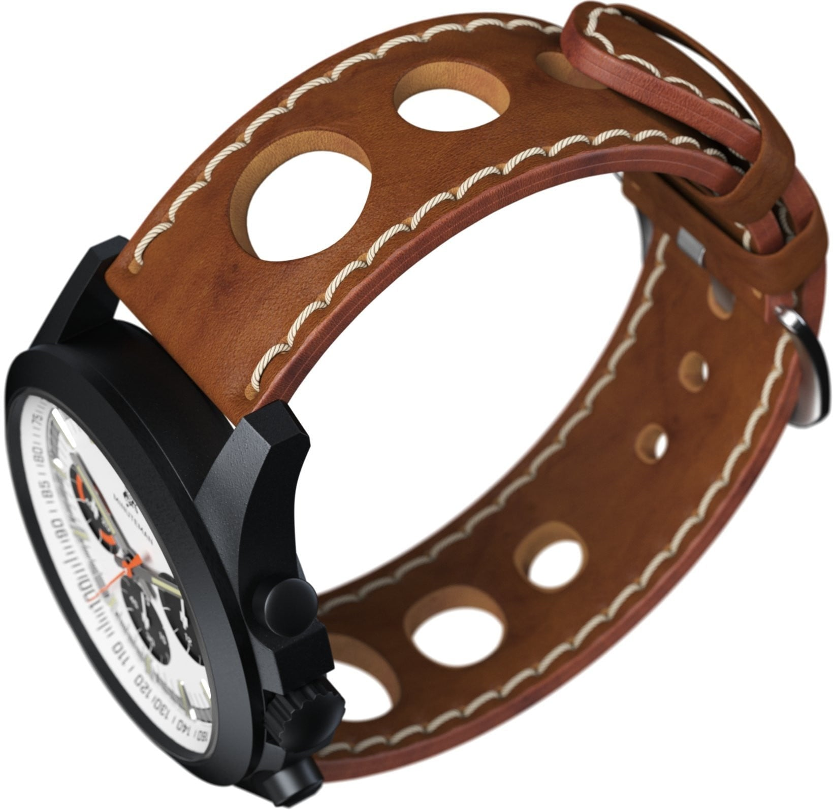 Minuteman Parker Chronograph Watch Brown Leather Strap DLC Panda Dial (Pre Order) - minutemanwatches