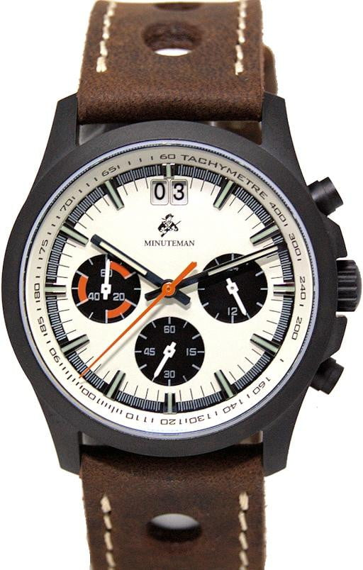 Minuteman Parker Chronograph Watch Brown Leather Strap DLC Panda Dial