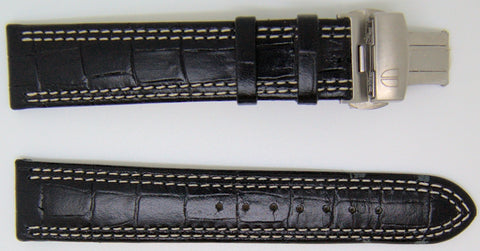 NOS 20mm handcrafted by Di Modell in Germany black leather watch strap with stainless deployant,minutemanwatches,Minuteman Watch Company,Watch Strap