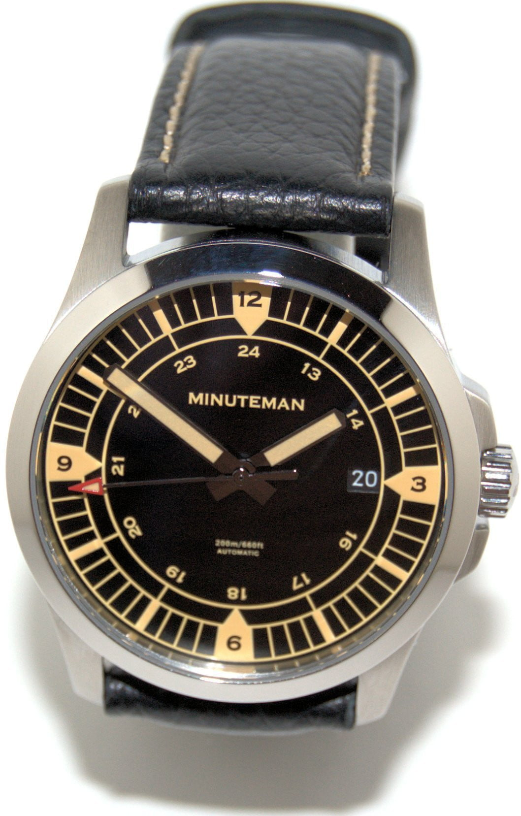 Minuteman  Darby brushed finish leather strap wristwatch,minutemanwatches,Minuteman,Wrist Watch
