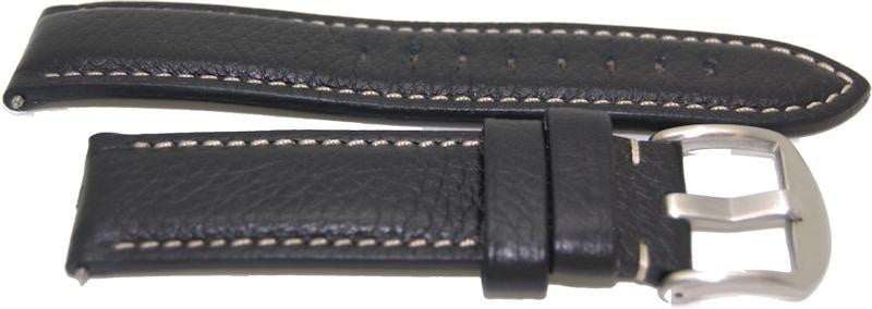 22mm American made black leather watch strap