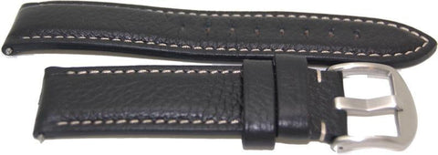 22mm American made black leather watch strap - minutemanwatches
