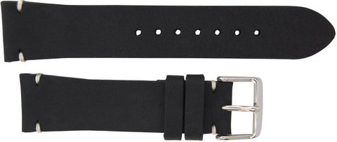 Italian Made 22mm Tapered Nubuck Leather Watch Strap Black,minutemanwatches,Minuteman Watch Company,Watch Strap