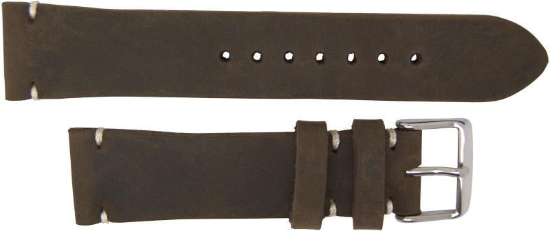 Italian Made 22mm Tapered Nubuck Leather Watch Strap Dark Brown