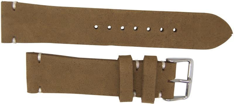 Italian Made 22mm Tapered Nubuck Leather Watch Strap Light Brown