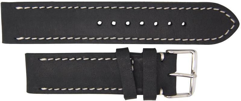 Italian Made Black 22mm Nubuck Leather Watch Strap - minutemanwatches