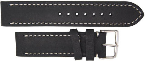 Italian Made Black 22mm Nubuck Leather Watch Strap,minutemanwatches,Minuteman Watch Company,Watch Strap