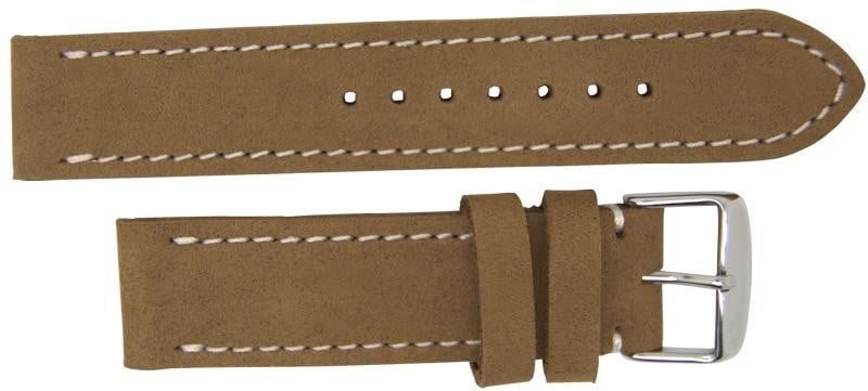 Italian Made Nubuck Leather Watch Strap Light Brown 22mm
