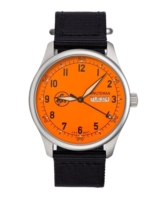Pre-Order Minuteman A11 Field Watch Orange Dial Powered by Ameriquartz,minutemanwatches,Minuteman,Wrist Watch