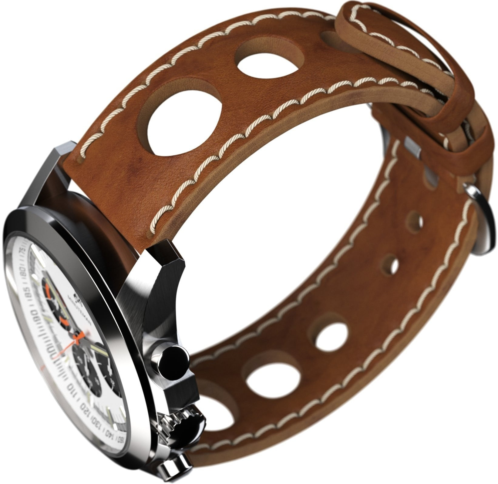 Minuteman Parker Chronograph Watch Brown Leather Strap Brushed Panda Dial,minutemanwatches,Minuteman,Wrist Watch