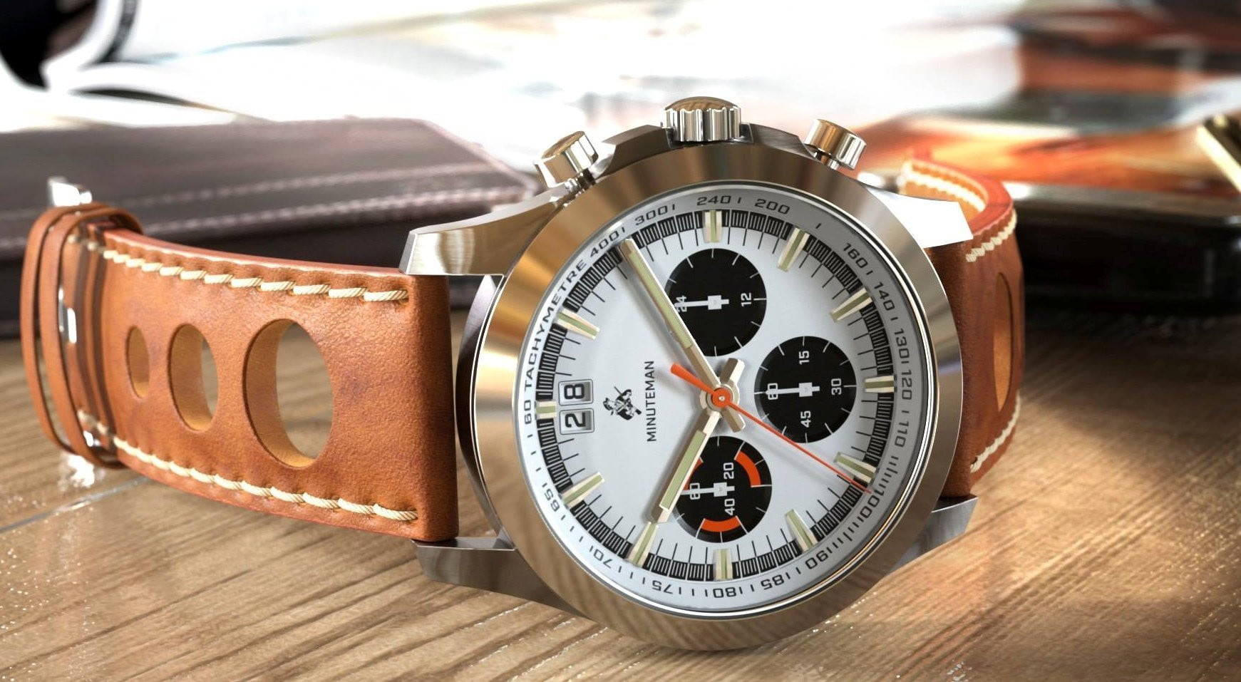 Minuteman Parker Chronograph Watch Brown Leather Strap Brushed Panda Dial (Pre Order) - minutemanwatches