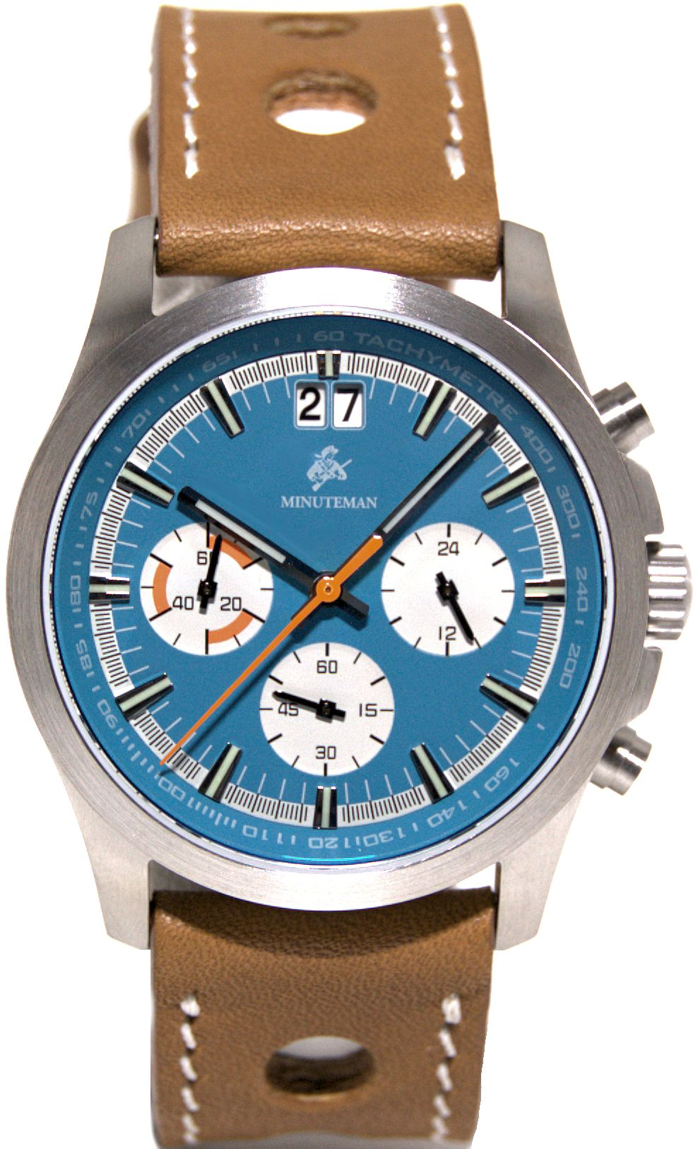 Minuteman Parker Chronograph Watch Brown Leather Strap Brushed  Blue Dial