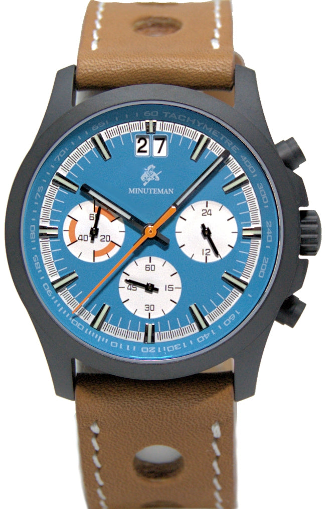 Minuteman Parker Chronograph Watch Brown Leather Strap DLC Blue Dial