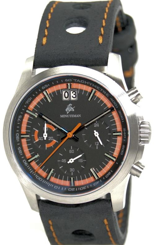 Minuteman Parker Chronograph Watch Black Leather Strap Black/Orange Dial Brushed,minutemanwatches,Minuteman,Wrist Watch