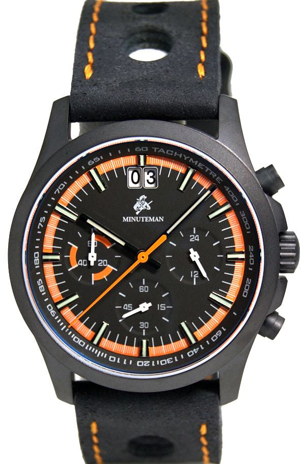 Minuteman Parker Chronograph Watch Black Leather Strap DLC  Black/Orange Dial