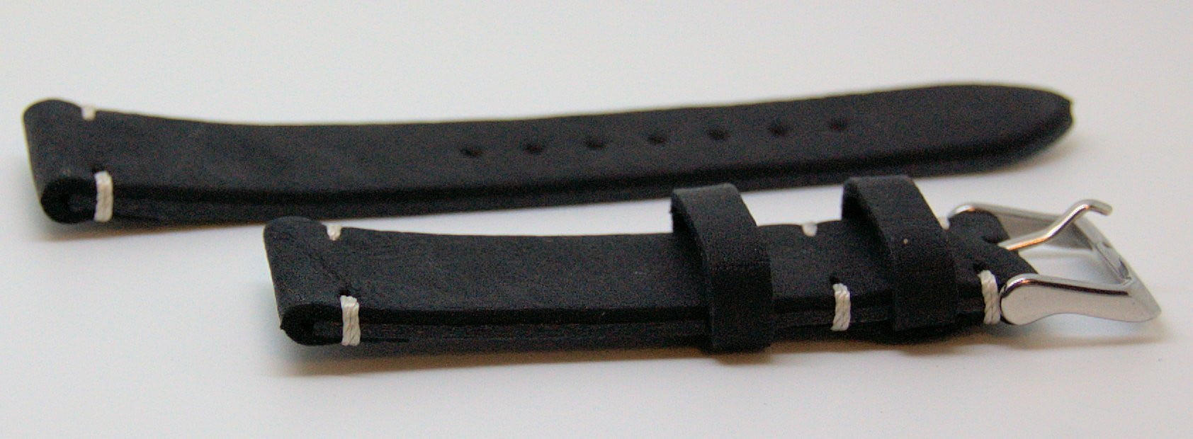Italian Made 22mm Tapered Nubuck Leather Watch Strap Black - minutemanwatches