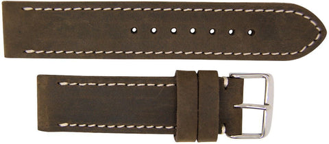 Italian Made Dark Brown 22mm Nubuck Leather Watch Strap