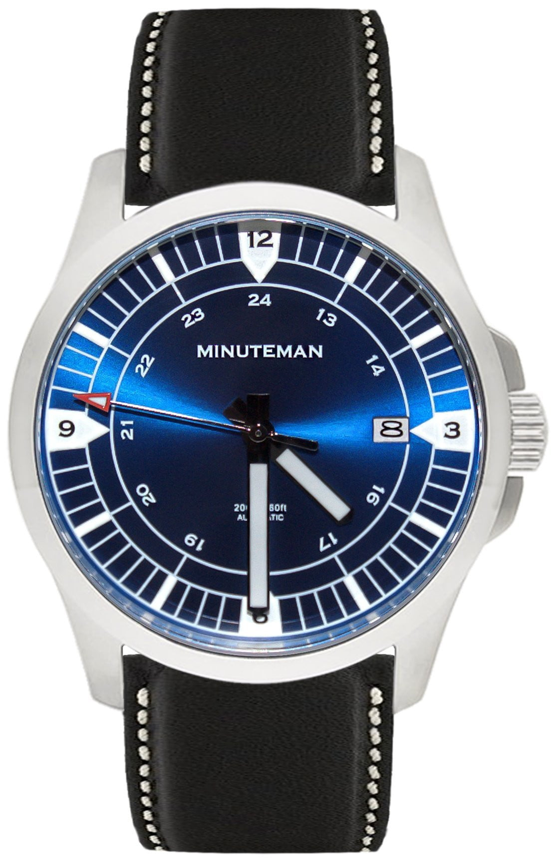 Minuteman RWB brushed finish leather strap USA assembled wristwatch,minutemanwatches,Minuteman,Wrist Watch