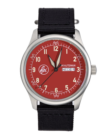 Pre-Order Minuteman A11 Field Watch Devil Dog Red Dial Powered by Ameriquartz,minutemanwatches,Minuteman,Wrist Watch