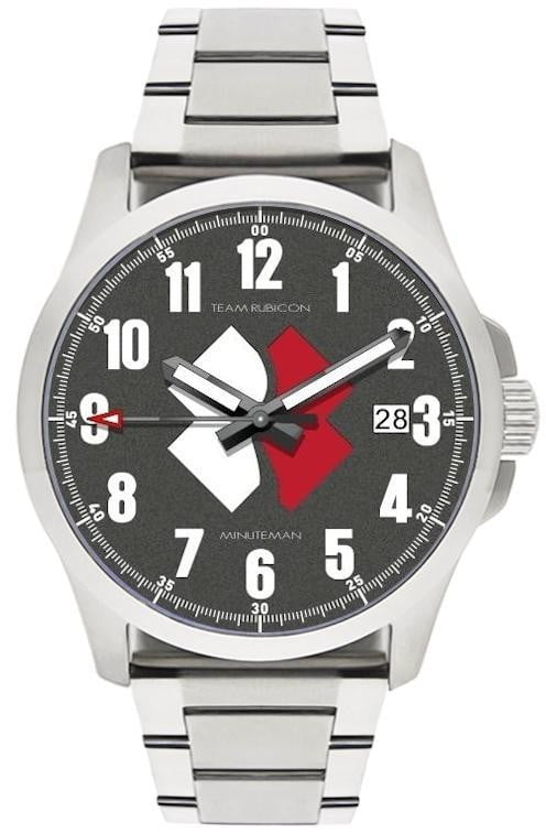 Minuteman  Team Rubicon Brushed Bracelet White/Red Logo USA assembled wristwatch - minutemanwatches