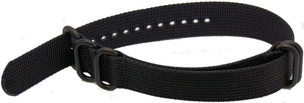 22mm 1 pc black military style nylon watch strap with heavy duty black pvd fittings