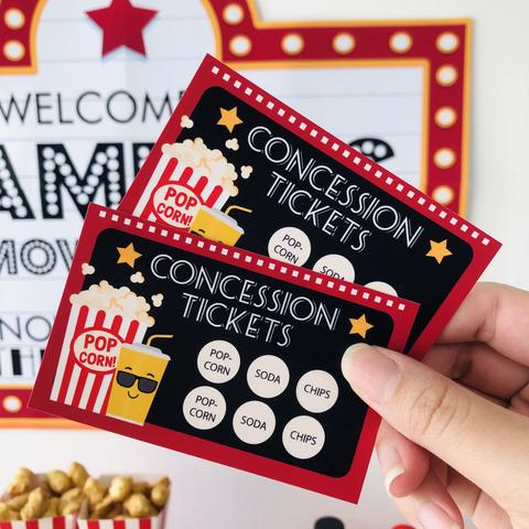 Movie Night Party Concession Card