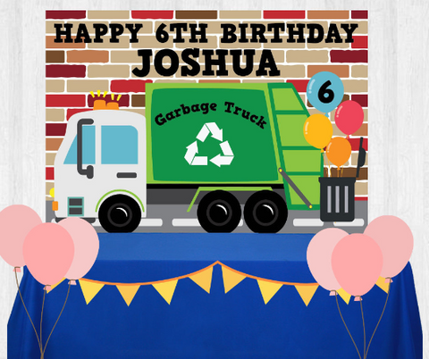 Garbage Truck Birthday Backdrop