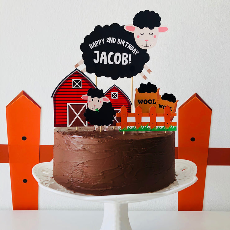 Baa Baa Black Sheep Cake Topper