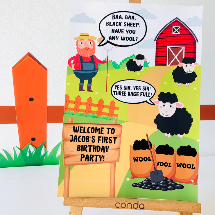 Baa Baa Black Sheep Party Decor Sign
