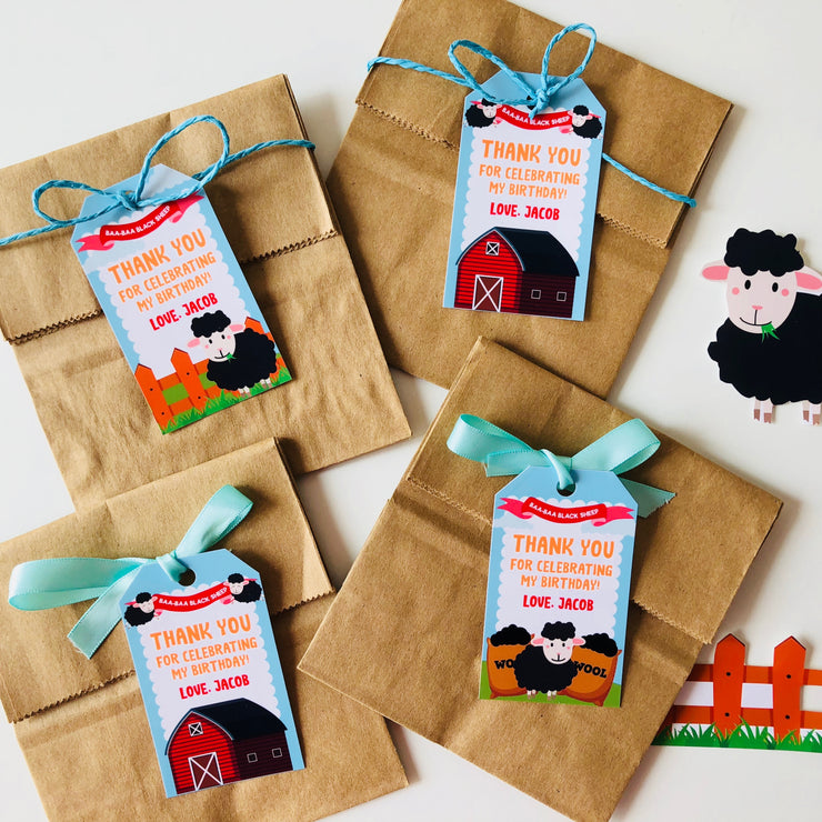 Baa Baa Black Sheep Party Favor Tags