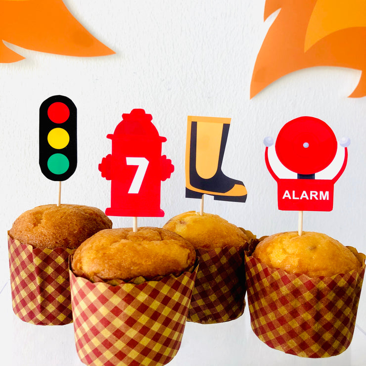 Firefighter Cupcake Topper Printable