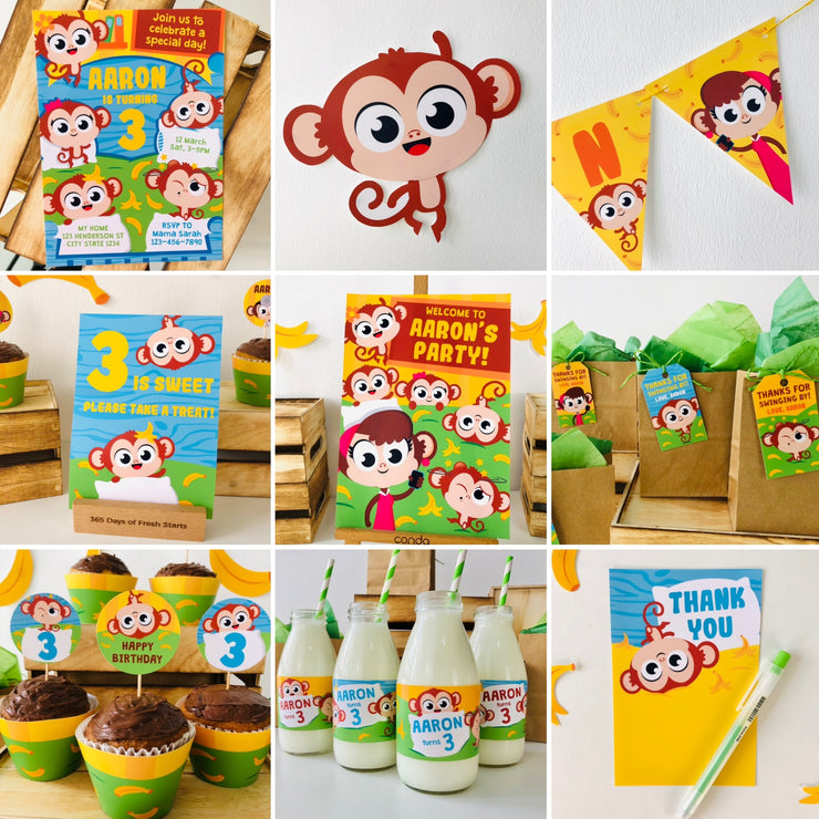 Five Little Monkeys Birthday Party Printable